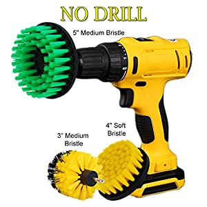 """HIFROM (Pack of 3) Drill Brush - 3"""" 4"""" 5"""" Soft Medium Stiffness Power Scrubbing Brush Drill Attachment kit for Cleaning Showers Tubs Tile Grout Carpet Upholstery Concrete Brick"""