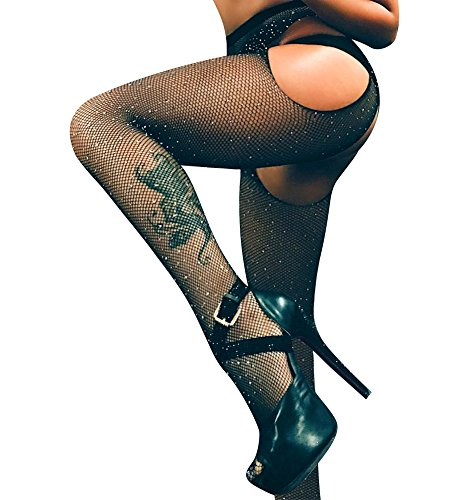 Women's Hollow Out Sparkle Rhinestone Fishnet Pantyhose Tights Sexy High Waist Fishnet Stockings Stand the trial