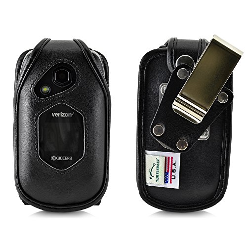 - Turtleback Fitted Case for Kyocera DuraXV LTE Verizon Flip Phone Black Leather with Heavy Duty Ratcheting, Removable Metal Belt Clip Holster FITS ONLY Kyocera DuraXV LTE E4610 Mil Spec 810G PTT