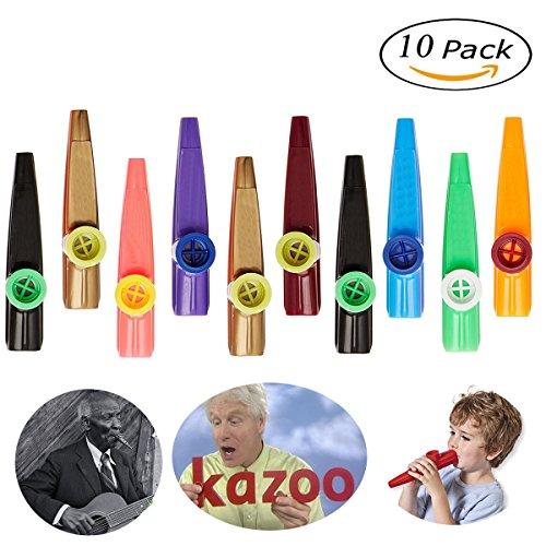 Kazoo - HoFire 10 Pcs Assorted Color Plastic Kazoos Musical Instruments Party Favors (Random 5 Colors)