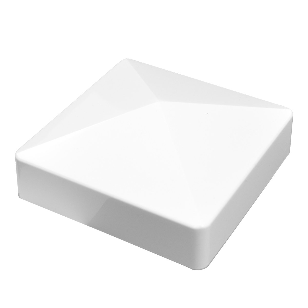 Durable White PVC Vinyl External Pyramid Post Cap For A True 5 Inch x 5 Inch Post   Single Pack   AWCP-EXT-5