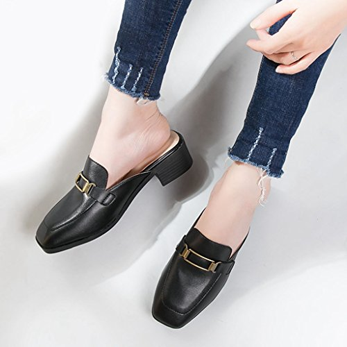 Backless Slide Flats Casual Toe GIY Women Clogs Black Round On Slipper Loafer Slip Mule qHFHxEBwP