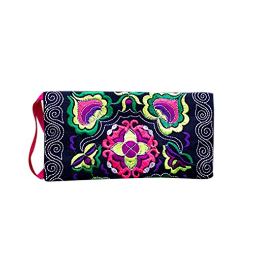 (Kemilove Women Ethnic Handmade Embroidered Clutch Bag Vintage Purse Long Wallet (Black))