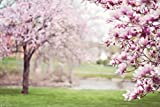 Pink Flower Tree Backdrop, natural spring scenic wedding girls' birthday party, printed fabric photography background (P0052, 12' wide by 8' tall)