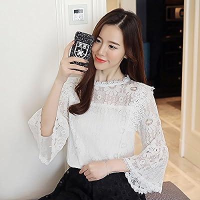 WXIN Camisa De Mujer Floja De Manga Larga De Encaje Blusa De Encaje Vestido De Mujer, XL, Blanco: Amazon.es: Hogar
