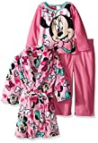 Disney Little Girls' Toddler Minnie Mouse 3-Piece Pajama Set with Robe, Pink, 5T