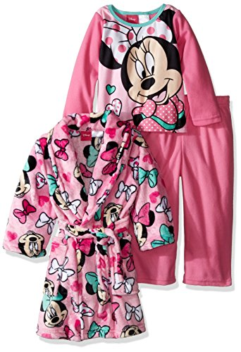 Disney Little Girls' Toddler Minnie Mouse 3-Piece Pajama Set with Robe, Pink, 5T (Toddler Girl Robe)