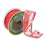 Christmas Decorative Gift and Tree Wired Sheer Glitter Ribbon 2
