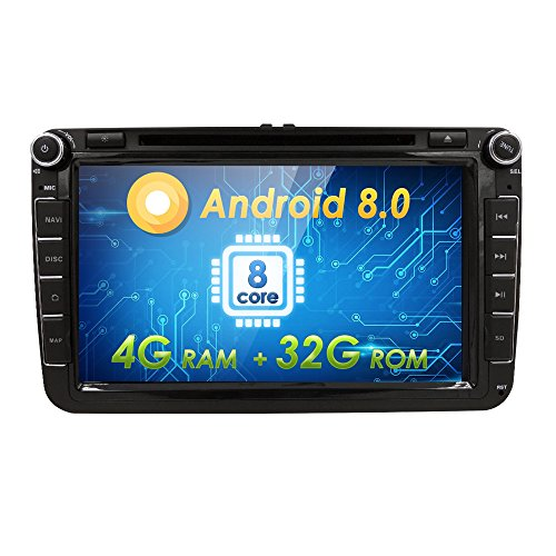 Android 8.0 Car Stereo DVD Player Double 2 Din 8 Inch Capacitive Touch Screen GPS Navigation System for VW Volkswagen Golf Passat Tiguan Polo Jetta Skoda Seat Octa-core 4G RAM 32G ROM