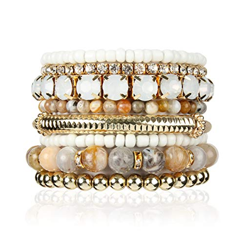 Stone Acrylic Bead - RIAH FASHION Multi Color Stretch Beaded Stackable Bracelets - Layering Bead Strand Statement Bangles (Natural Stone - Multi-Color Agate, 8)