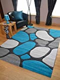 Teal Blue Silver Grey Pebbles Thick Quality Modern Carved Rugs Runner Small Extra Large Soft Mat Cheap (67cm x 120cm)