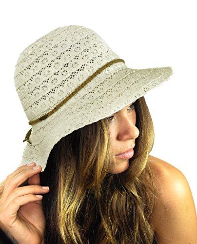 NYFASHION101 Open Knit Brown Braided Trim Vented Cotton Beach Sun Hat - Beige