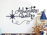 Adventure Awaits Wall Decals. Nautical Nursery Decals for Boy. Kids Vinyl Sticker. NS1111