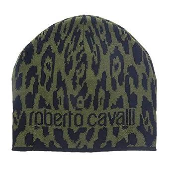 3620e793c4616 Image Unavailable. Image not available for. Color  Roberto Cavalli ESZ026  D0491 Black Military Green Jaguar Beanie Hat ...