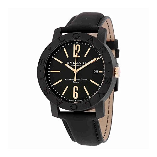 Bvlgari Bvlgari Automatic Black Dial Black Leather Mens Watch 102248