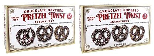 Trader Joe's Chocolate Covered Pretzel Twist Assortment (PACK OF 2 BOXES} Chocolate Covered Pretzel Twists