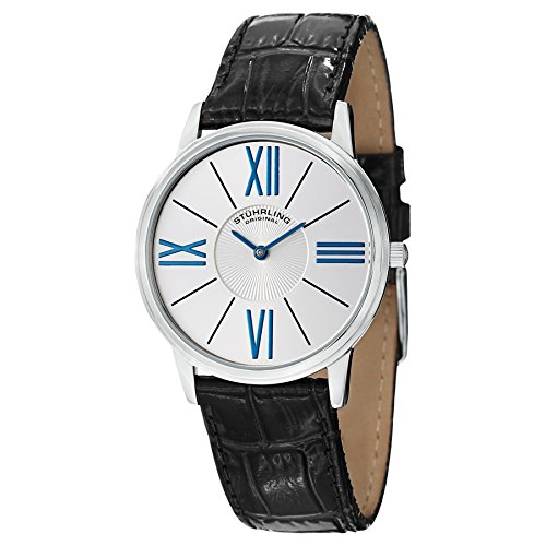 Stuhrling Original Men's 533.01 Classic Ascot Solei Ultra Slim Silver Dial Watch