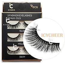 3 Pairs Long Cross False Eyelashes Makeup Natural 3D Fake Thick Black Eye Lashes Icycheer Soft Fake Lash