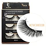 3 Pairs Long Cross False Eyelashes Makeup Natural 3D Fake Thick Black Eye Lashes Icycheer Soft Fake Lash