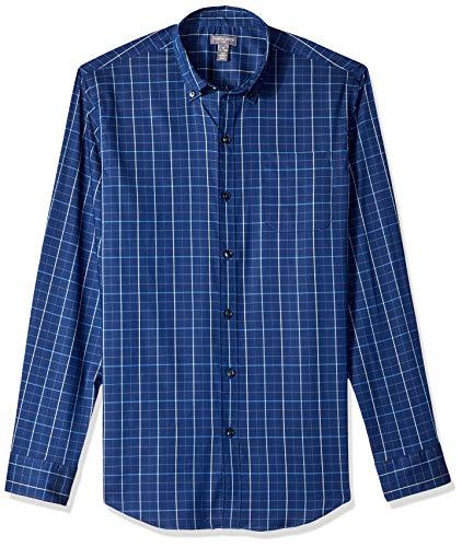 Van Heusen Men's Flex Long Sleeve Button Down Stretch Windowpane Shirt, Blue Underground Stripe, XX-Large