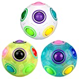 Rainbow Puzzle Ball, Dreampark 3 Pack Magic Rainbow Ball Mind Puzzle Cube Stress Fidget Ball Toy Race Game for Kids