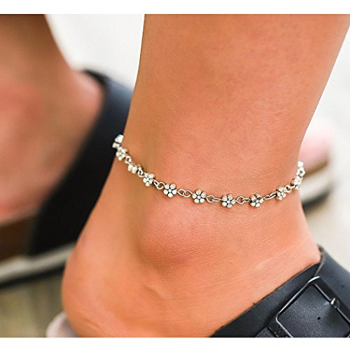 Simsly Anklets Bracelet with Flower Heart Adjustable Ankle Chain for Women and Girls JL-0120