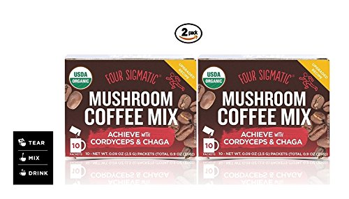 Four Sigmatic Mushroom Coffee, USDA Organic Coffee with Cordyceps and Chaga mushrooms, performance, Vegan, Paleo, 10 Count, Pack of 2