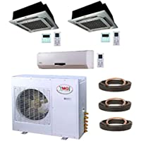 YMGI Tri Zone - 36000 BTU 21 SEER 3 Ton 12+12+12 Wall Mounted plus Ceiling MountMini Split Air Conditioner with Heat Pump for Home, Office, Apartment