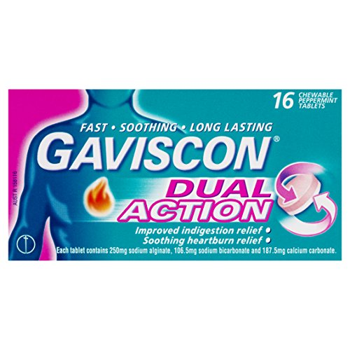 Gaviscon Dual Action Chewable Tablets Peppermint Heartburn & Indigestion Reli.