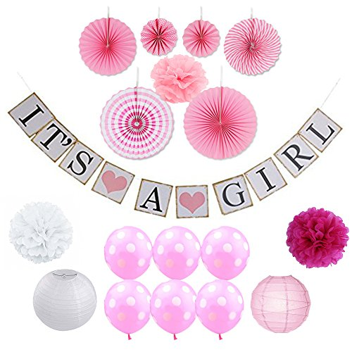 Baby Shower Decorations for Girls Party Kit 23-Piece Easy Setup | Its A Girl Banner, Pink, White, Grey Pompoms, Balloons & Paper Fans | Gender Reveal Gold Standard Oh Baby Oh Boys Neutral Girls