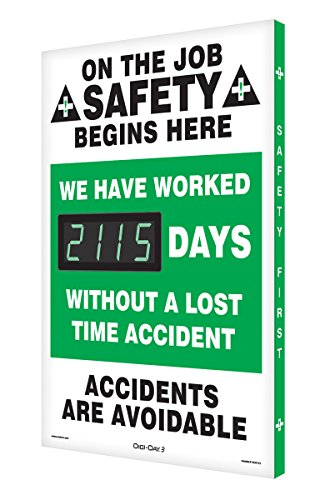 """Accuform Digi-Day 3 Electronic Safety Scoreboard,""""ON THE JOB SAFETY BEGINS HERE - WE HAVE WORKED #### DAYS WITHOUT A LOST TIME ACCIDENT - ACCIDENTS ARE AVOIDABLE (SCK115)"""