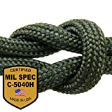 MilSpec Paracord Foliage Green 8-Strand 55 ft. Hank. Guaranteed MIL-C-5040H Compliant, Military Survival 550 Parachute Cord, Type III. Made in USA. 100% Nylon, 600 Lb. Break Strength, 2 Free eBooks.