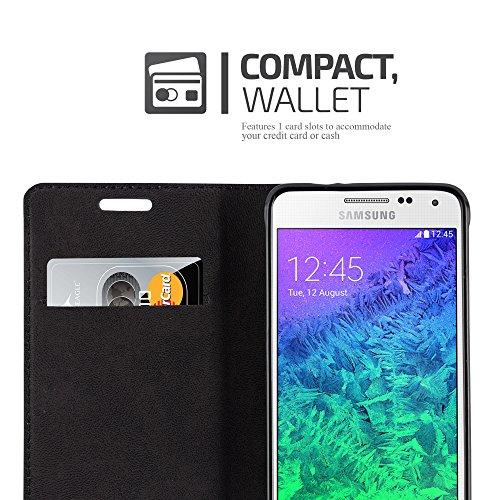 Cadorabo - Funda Book Style Cuero Sintético en Diseño Libro Samsung Galaxy ALPHA - Etui Case Cover Carcasa Caja Protección con Imán Invisible en NEGRO-ANTRACITA MARRÓN-CAFÉ