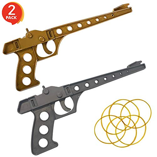 Gamie Rubber Launcher Toy Gun Shooting Game for Kids (Set of 2) | Total of 2 Launchers, 8 Rubber Bands, and 6 Bonus Duck Target Cutouts | Fun Party Activity & Birthday Party Favors for Boys and Girls