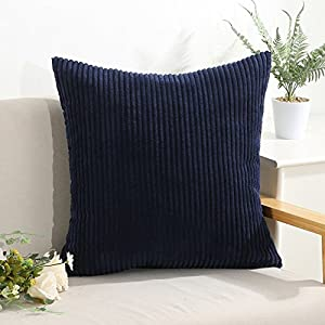 Pack of 2 Decorative Throw Pillow Covers Cases for Couch Bed Sofa,Striped Corduroy Velvet Cushion Covers for Baby, 26 X 26 Inches,Navy Blue