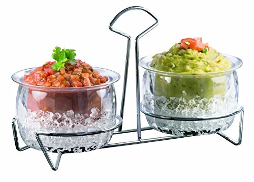 ChefVentions Twin Dip Bowls on Ice - 5 Piece Set, Stainless Steel Metal Stand, Holds Fruit, Dip, Salad, Dessert, BPA Free Acrylic