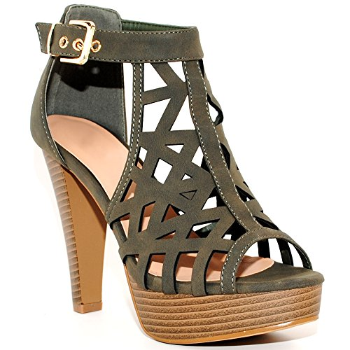 Chunky Collection - TRENDSup Collection Open Toe Ankle Strap Sandal - Western Bootie Stacked Heel Open Toe Cutout Shoes (8.5, Olive)