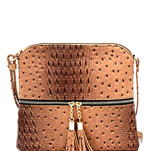 Embossed Beige Handbag - Ostrich PU Leather Embossed Tassel Accent Zipper Pocket Large Crossbody Bag (Soft Rectangular - Taupe)