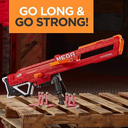 51nX%2BqVD wL - Nerf Thunderhawk AccuStrike Mega Toy Blaster - Longest Blaster - 10 Official AccuStrike Mega Darts, 10-Dart Clip, Bipod - for Kids, Teens, and Adults