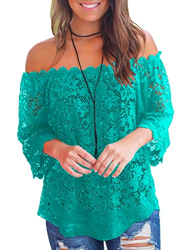 MIHOLL Women's Summer Tops Lace Off Shoulder Loose Shirt Blouses (Green, Small)