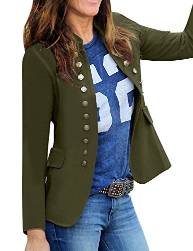 (GRAPENT Women's Business Casual Buttons Pockets Open Front Blazer Suit Cardigan Army Green Size Medium (US 8-10))