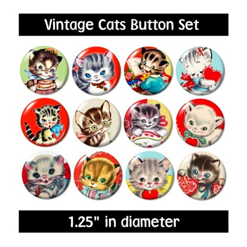 VINTAGE CATS BUTTONS pins badges new