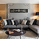 Vintage Diagonal Frame Pattern Background Decorative 3D Acrylic Mirror Wall Stickers Decor Art Living Room Bedroom Home Decor R203