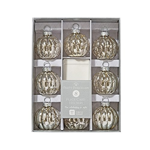 Talking Tables Party Porcelain Glass Bauble Table Place Card Holders (8 Pack), Silver