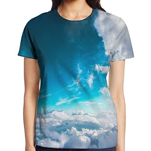 Women's Blue Sky White Clouds Casual Crew Neck Baseball Tee Short Sleeves Shirt Slim Fit Sports - Shakira A Like Look