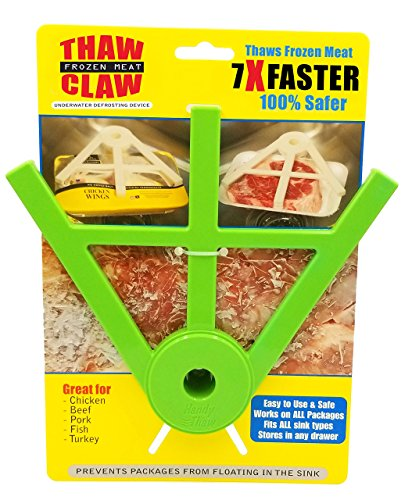 THAW CLAW (Green) - Thaws frozen meat 7X Faster & 100% Safer - Thaws in minutes instead of hours - Your favorite new kitchen