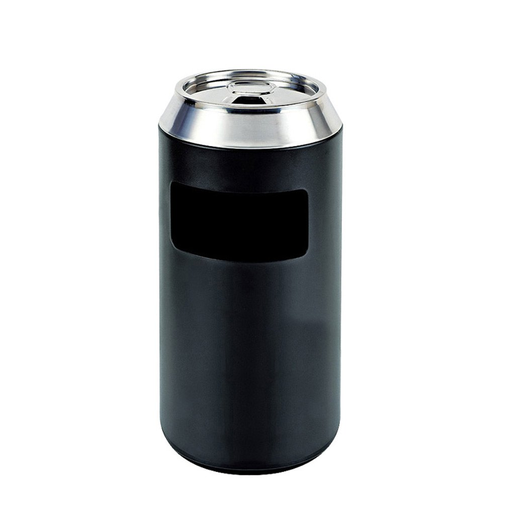 Vertical Ashtray Trash Canning Hotel Lobby Lobby Corridor Elevator Stainless Steel ( Color : Black )