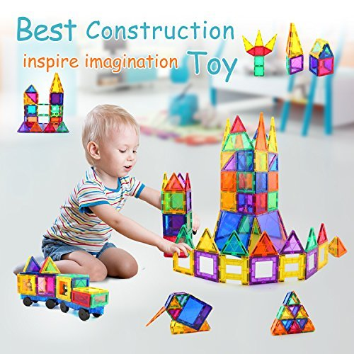 Children Hub 100pcs Magnetic Tiles Set - Educational 3D Magnet Building Blocks - Building Construction Toys for Kids - Upgraded Version with Strong Magnets - Creativity, Imagination, Inspiration by Children Hub (Image #2)