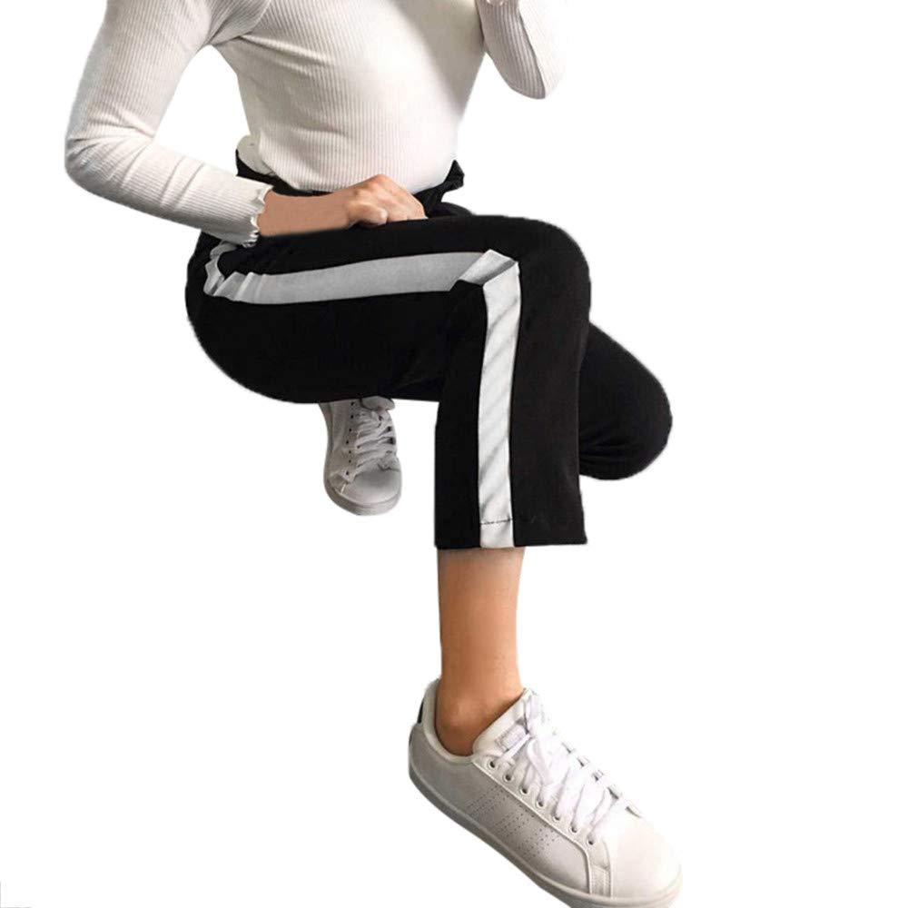 cinnamou Damen-beiläufige Gestreifte Hohe Taillen-Hosen-Elastische Taillen-beiläufige Hosen, Verband-Elastische Taillen-beiläufige Hosen