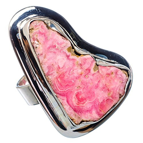 Huge Rough Rhodochrosite Ring Size 8 (925 Sterling Silver) - Handmade Boho Vintage Jewelry RING907586 (Rough Huge)